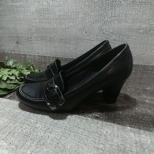 Massini black heeled loafers size 6